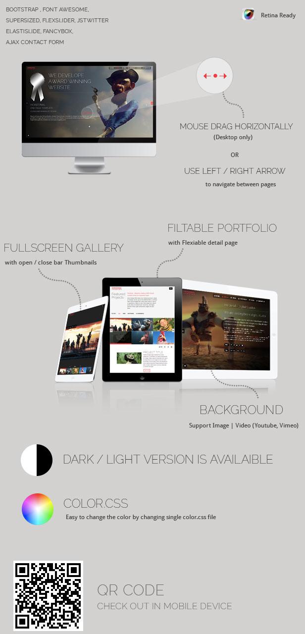 Horizonal HTML Template